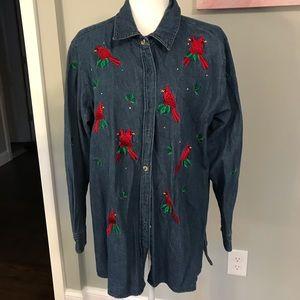 Quacker Factory Embroidered Denim Jacket